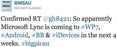 Microsoft Lync Smartphone Twitter announcement